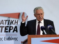 Leader of Democratic Left party Fotis Kouvelis addresses a news conference in Athens