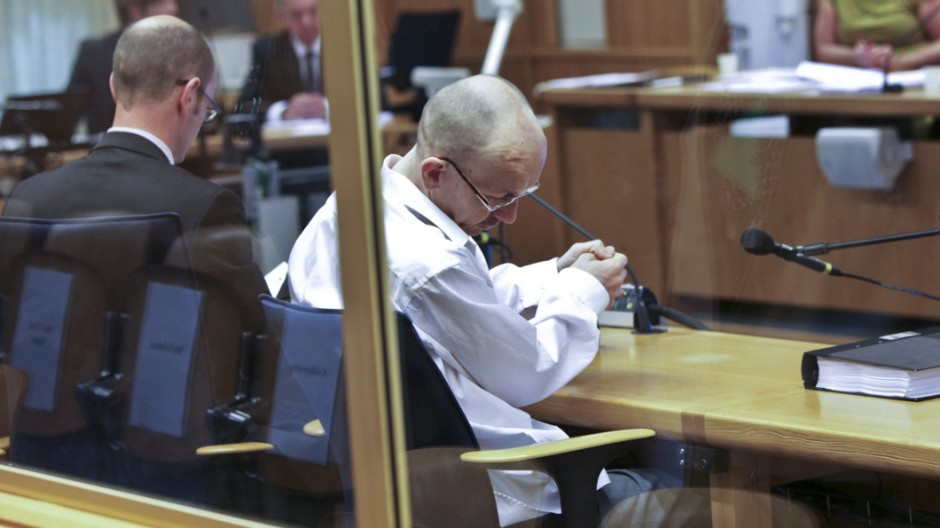 Mangs sits in the district court of Malmo for the second day of his trial in Sweden