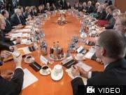 Konjunkturgipfel, Merkel, Ackermann, AP