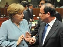 EU Sondergipfel - Merkel Hollande