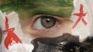 A boy with his face painted in the colours of the Syrian opposition flag takes part in a demonstration in Amman