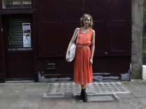 Model and jewellery designer Palmer poses for a picture in Shoreditch