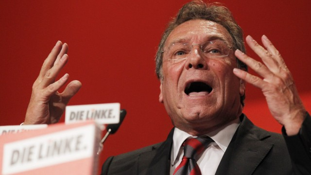 Ernst outgoing co-leader of left wing Die Linke party  holds a speech at a federal party congress in in Goettingen