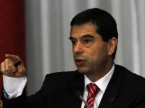 Portugal's Finance Minister Vitor Gaspar gestures during a news conference in Lisbon