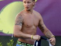 French soccer player Mexes attends a training session at the team's training center in Kircha near Donetsk during the Euro 2012