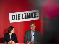 New leaders of left-wing Die Linke party Kipping and Riexinger present 120-day-program during a news conference in Berlin
