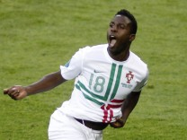 Portugal's Varela celebrates after scoring against Denmark during their Group B Euro 2012 soccer match in Lviv