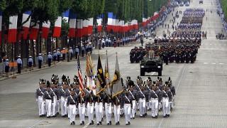 Amerikanische Kadetten während der Parade zum 14. Juli, 2002
