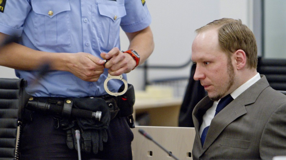 Mass killer Anders Behring Breivik sits in the courtroom in Oslo