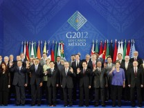 Leaders of the G20 nations gather for a group photo at the G20 Summit in Los Cabos, Mexico