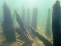 Überreste einer Pfahlbausiedlung im Bodensee