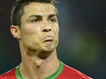 Portugal's Ronaldo celebrates after scoring a goal against Netherlands during their Group B Euro 2012 soccer match at the Metalist stadium in Kharkiv