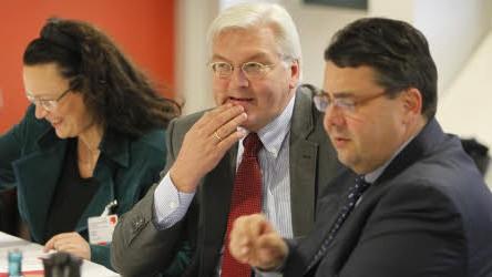 SPD, Parteitag Dresden, Andrea Nahles, Frank-Walter Steinmeier, Sigmar Gabriel; Reuters