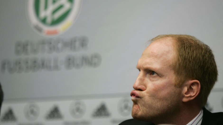 New DFB technical director Sammer frowns during his presentation in Frankfurt