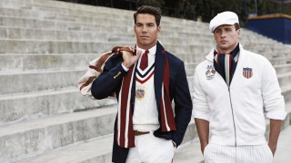 Handout photo of US Olympic athletes Lochte and Lanzone wearing the 2012 US Olympic team uniforms