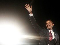 U.S. Democratic President elect Barack Obama during his election night rally in Chicago