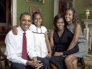 Familienfoto von Barack, Michelle, Malia und Sasha Obama; dpa