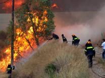 Wildfire near Patras city, Peloponnese