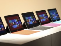New Surface tablet computers by Microsoft are displayed at its unveiling in Los Angeles