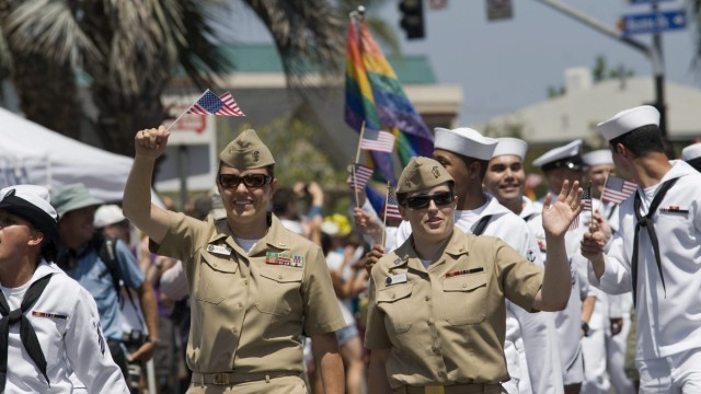 Members of the United States Army march in the San Diego gay prid