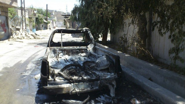 Damage are seen at the Damascus district of Qaboun