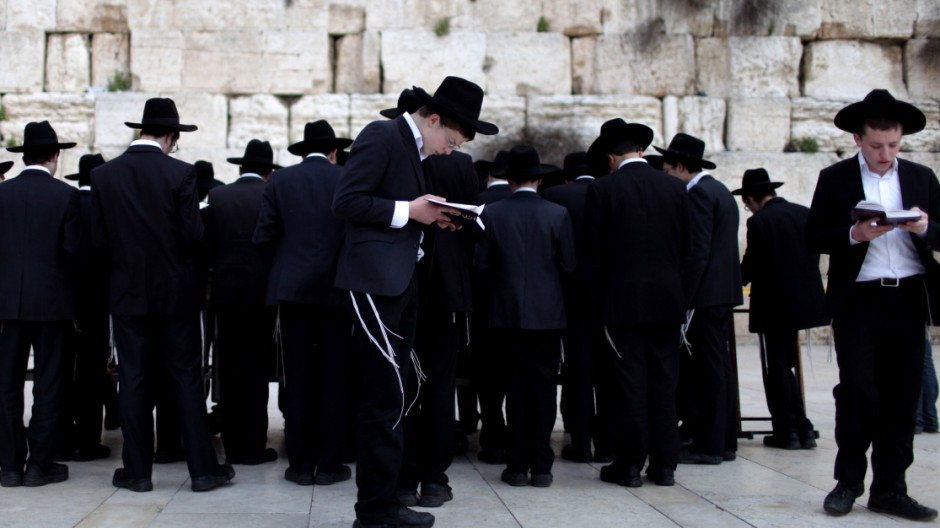 Ultra Orthodox Jews pray at the Western Wall