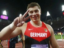 Germany's David Storl celebrates after placing second in men's shot put final at London 2012 Olympic Games
