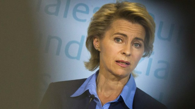 Germany's Labour Minister von der Leyen presents the latest unemployment figures during a news conference in Berlin