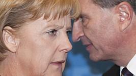 Angela Merkel Günther Oettinger EU Kommissar Brüssel AP