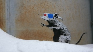 Artwork by Banksy shown during Sundance Film Festival in Park City