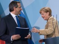 Bundeskanzlerin Merkel trifft griechischen Ministerpraesidenten Samaras