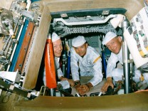 Handout photo of Armstrong, Collins and Aldrin