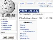 Wikipedia-Eintrag Walter Sedlmayr