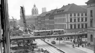 Hochstraße über die Ludwigstraße in München, 1966