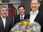 Peter Müller (l),  Hubert Ulrich (r), Christoph Hartmann, Saarland, Jamaika, dpa