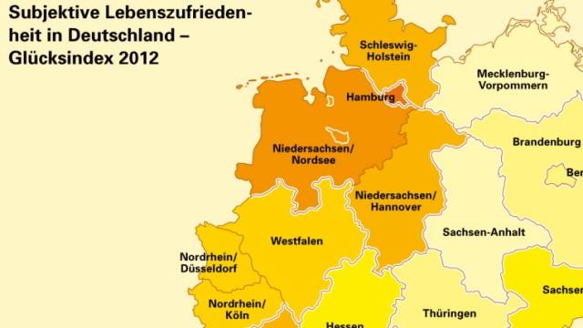 Deutsche Post Glücksatlas 2012 Studie Lebenszufriedenheit Karte