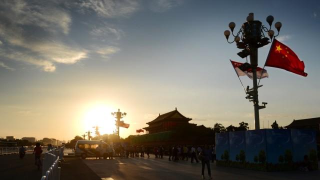 Peking China Sonnenaufgang Tiananmen-Platz