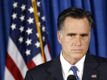 U.S. Republican presidential nominee and former Massachusetts Governor Mitt Romney listens to questions on the attack on the U.S. consulate in Libya, in Jacksonville