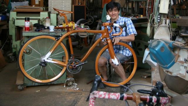 Sueshiro Sano, Fahrrad, Mahagoni, Holz