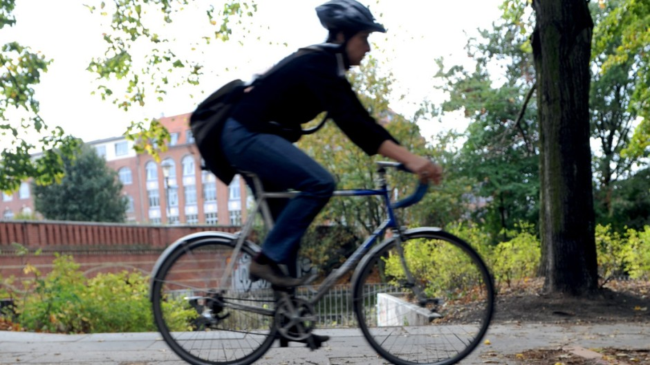 Herbst, Fahrrad, Fußgänger, Laub, Licht, Lampe
