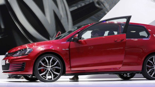 A new model of the Volkswagen Golf GTI is displayed on media day at the Paris Mondial de l'Automobile
