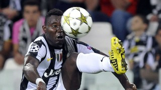 Juventus' Asamoah jumps for the ball during their Champions League soccer match against Shakhtar Donetsk in Turin