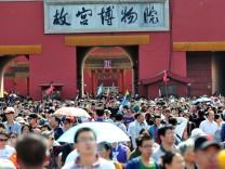 China Sehenswürdigkeiten Touristen Verbotene Stadt Peking