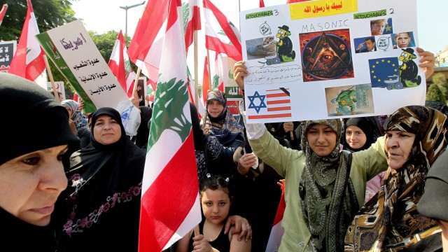 Supporters of Hezbollah and other Lebanese national parties prote