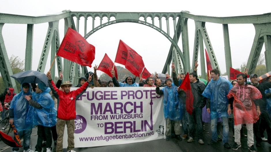Protestmarsch von Asylsuchenden in Potsdam