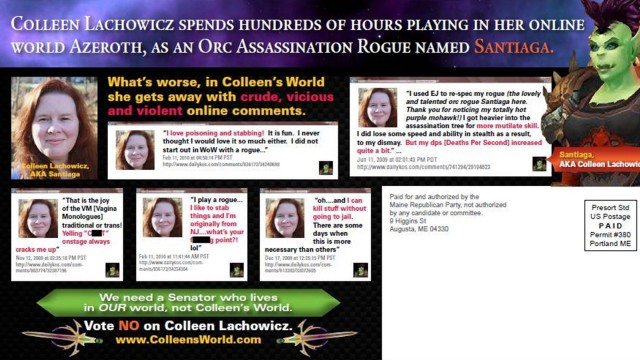 Mailer distributed by the Republican party attacking Democratic state senate candidate Lachowicz for playing online games