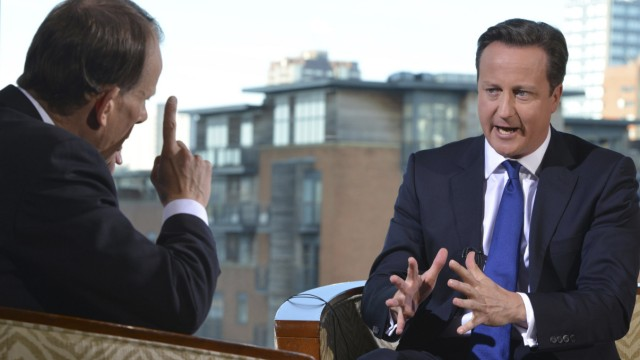 Britain's Prime minister David Cameron speaks on the BBC's Andrew Marr Show, during the Conservative Party annual conference in Birmingham
