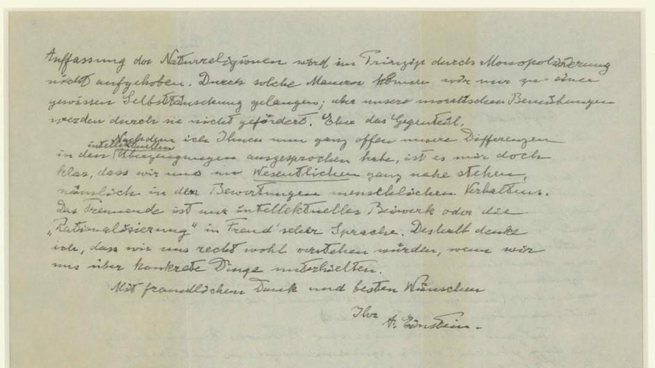 Zweite Seite des Briefes von Albert Einstein an Eric Gutkind