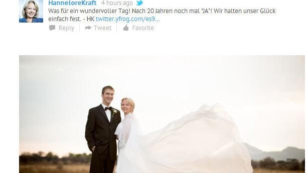 Hannelore Kraft veröffentlicht Hochzeitsfoto auf Twitter