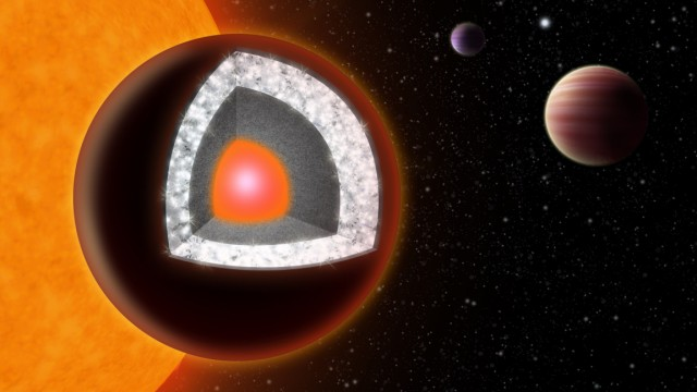 Eine Grafik der Yale University zeigt, wie der Exoplanet 55 Cancri e aufgebaut sein dürfte. Er ist zweimal so groß wie die Erde und besitzt eine grundsätzlich andere Chemie als unser Planet.